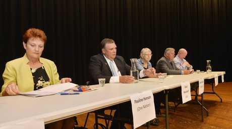 Pauline Hanson, David Neuendorf, Clare Rudkin, Ian Rickuss and Steve Leese at the Meet the Candidates Forum in Gatton last week.