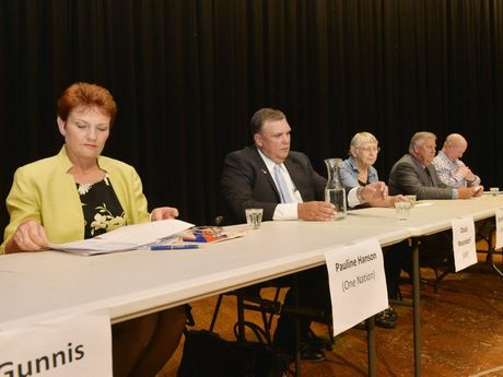 Pauline Hanson, David Neuendorf, Clare Rudkin, Ian Rickuss and Steve Leese at the Meet the Candidates Forum in Gatton last week.