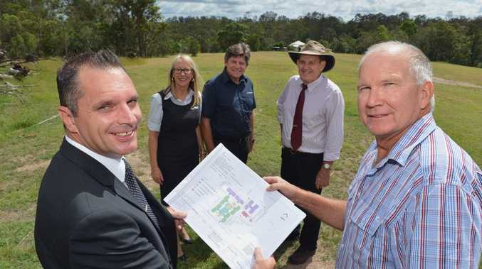 100 bed aged care facility planned for David Road, Gympie. Facing camera from left is Victory Church business manager Justin Lippiatt with Noel Granshaw from Mackenzie Land Developments with from left behind Victory Church Pastors Margaret and George Miller and Cr Ian Petersen. Photo: Greg Miller / Gympie Times
