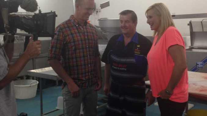 Filming inside Ashton's Butchery are Ed