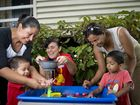 Flor and Ernesto Valencia, 2, Playgroup Queensland Gladstone representative Debbie Flaherty and Sneha and Vivaan Shetty, 3 at the I Play Gladstone Central State School playgroup's first meeting for 2015. Photo Paul Braven / The Observer