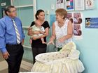 River Heads mum Jodie Tangikara, (centre) who has dedicated her time to raise money for a CuddleCot to  give grieving parents more time with their baby, with Hervey Bay MP Ted Sorensen and maternity unit manager Kerri Green at Hervey Bay Hospital.