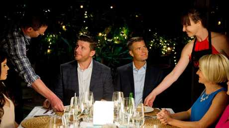 Kat and Andre serve judges Manu Feildel and Pete Evans during their instant restaurant.