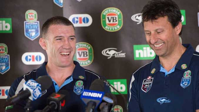 BLUES HARBOUR: NSW skipper Paul Gallen with coach Laurie Daley at Novotel Pacific Bay Resort today. Photo: TREVOR VEALE