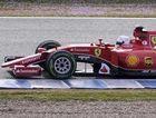 F1 Ferrari Team's Germany Sebastian Vettel drives on the second day of the Formula One pre-season tests at Jerez racetrack in Jerez on February 2, 2015.