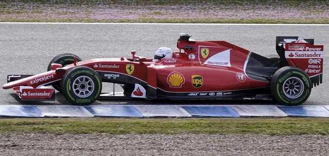 F1 Ferrari Team's Germany Sebastian Vettel drives on the second day of the Formula One pre-season tests at Jerez racetrack in Jerez on February 2, 2015.