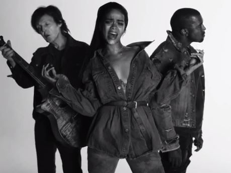 A still from Kanye West's FourFiveSeconds film clip featuring former Beatle Paul McCartney and Rihanna