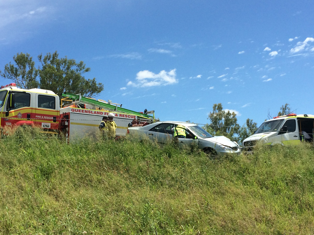 One of the vehicles involved in a crash on the Warrego Hwy east of Toowoomba.