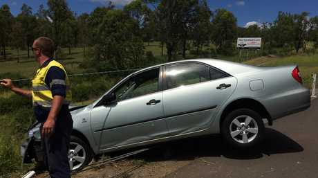 One person was taken to hospital after this crash on the Warrego Hwy near Helidon.