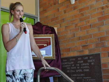 Laura Geitz speaks during her ceremony at the Allora Sports Museum on Saturday. Photo Michael Cormack / Warwick Daily News