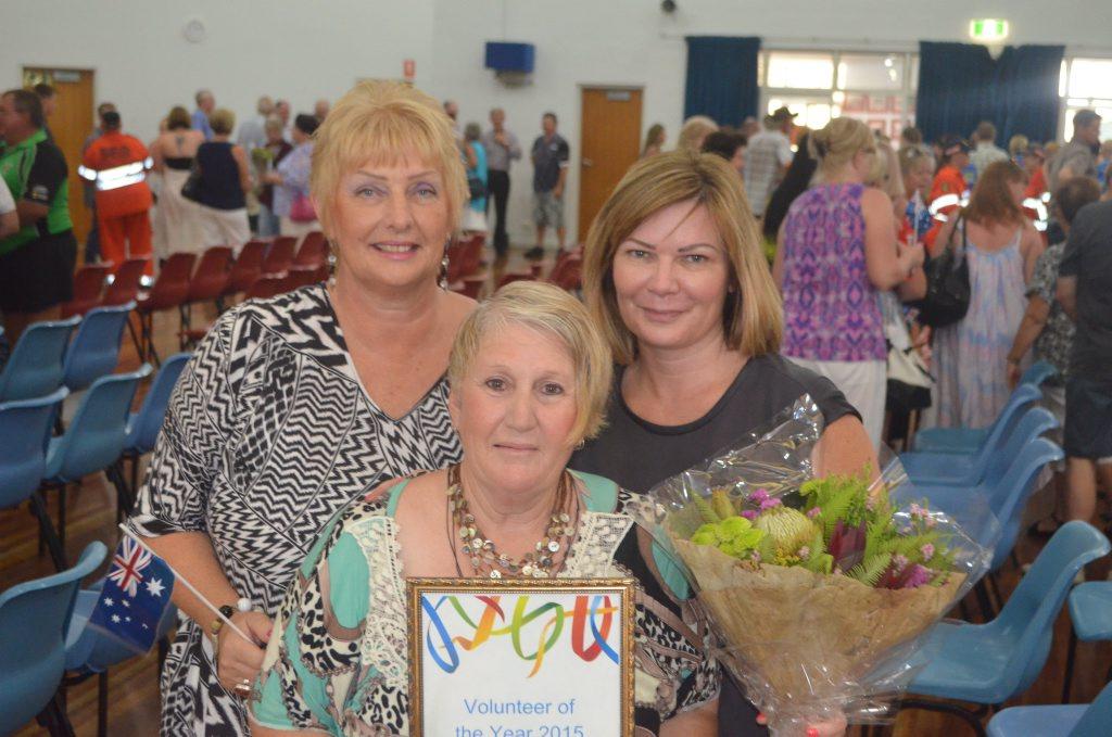 Volunteer of the year Gayle Deetz with Suzy Robinson and Anna Parsloe-Smith. Photo Derek Barry / Gatton Star