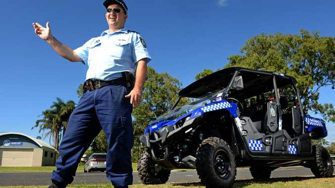 Sgt Mal Kentwell with the new All Terrain Vihicle (ATC). Photo: John Gass / Tweed Daily News