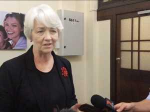 Mayor Margaret Strelow speaking about cyclone