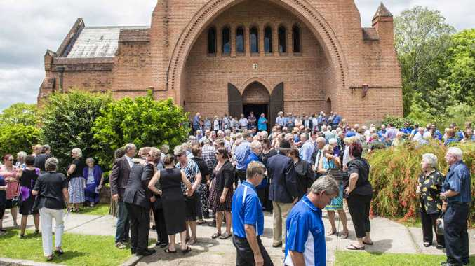 GAME CHANGER: A large crowd outside the Christ Church Cathedral for the funeral of Tucabia-Copmanhurst Cricket Club founding member Alan Murray. INSET: Murray at a Tucabia-Copmanhurst Cricket Club presentation. PHOTO: ADAM HOURIGAN