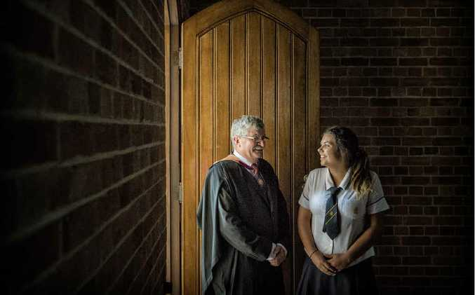 ALL CHANGE: New principal of the Clarence Valley Anglican School Alan Green with 2015 school captain Bethany Spurr before the service commissioning the school leaders at the Christ Church Cathedral. Photo Adam Hourigan