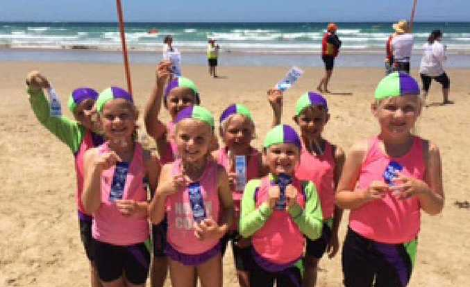 YOUNG GUNS: Minnie Water Wooli's under-9s are hoping for more relay medals at the North Coast Branch Surf Life Saving Championships this Sunday. PHOTOS: CONTRIBUTED