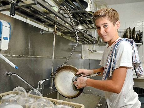 COMING CLEAN: Connor Gerrard has found a job washing dishes at Fish on Parkyn at Mooloolaba.