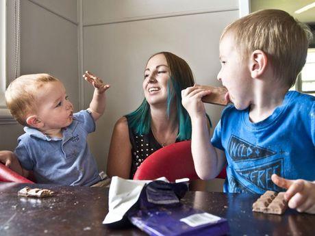 Chocolate lovers Danielle Newman and her children Blake Nevin and Zane Nevin.