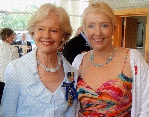Former Governor-General Quentin Bryce with Sally Gregory, a diver involved in the fatal shark attack at Julian Rocks in 1993.