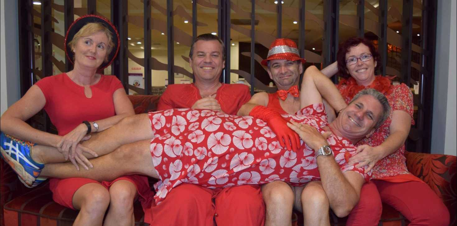 FUN RUNNERS: Northern Rivers Hash House Harriers get set for the Red Dress Run. They are Spin Cycle, Up Cycler, Procol, Yarnbomber and (lying down on the job).