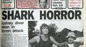 The front page of The Northern Star after the 1993 shark attack at Byron Bay.