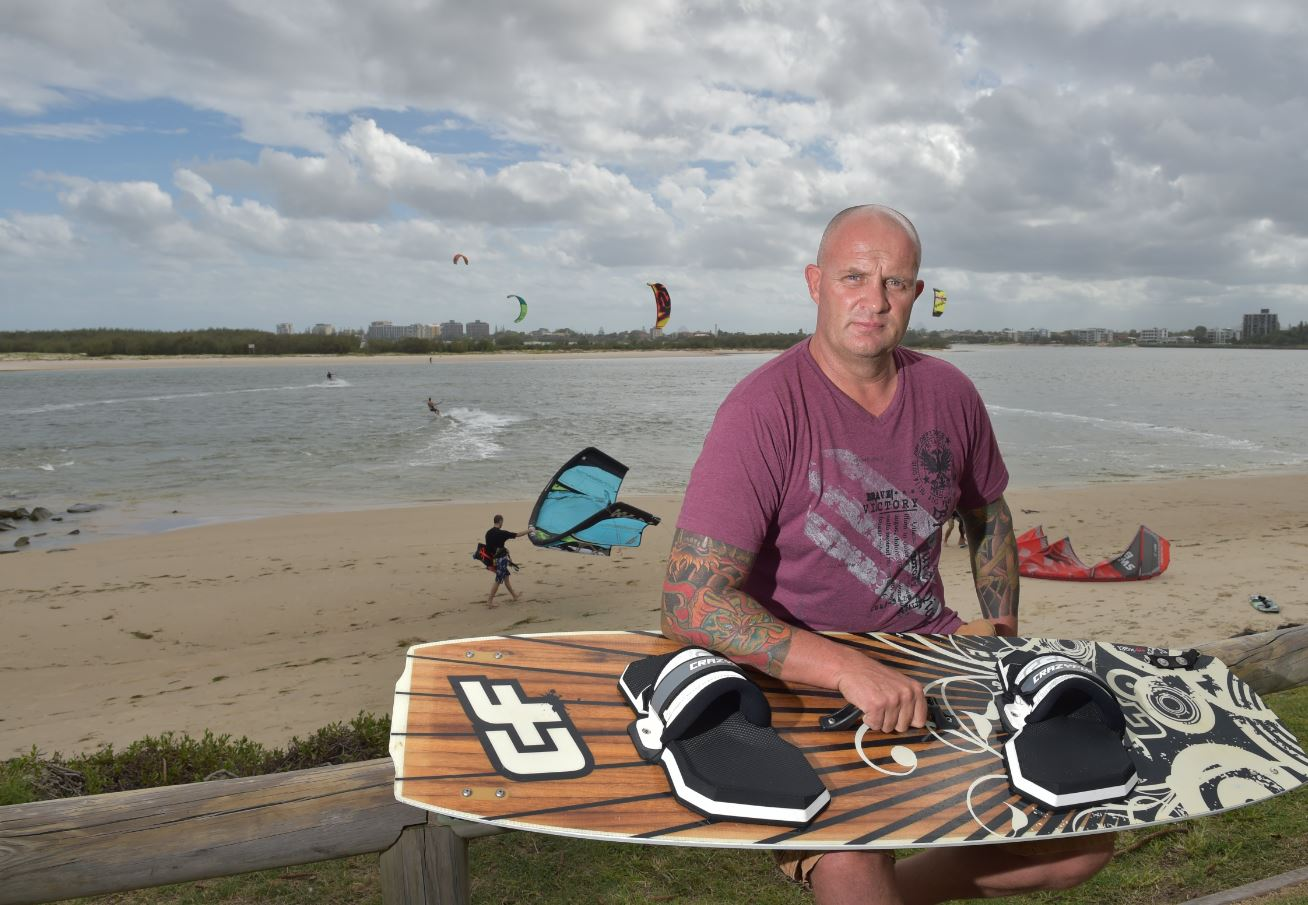 Rick Mackrell had his phone stolen while he was kite surfing at Happy Valley, Caloundra. It has photos of his terminally ill wife, Lisa, on it and he really wants them back.