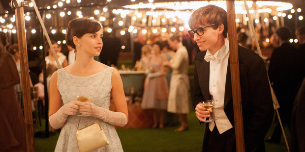 Felicity Jones as Jane Wilde and Eddie Redmayne as Stephen Hawking in The Theory of Everything.