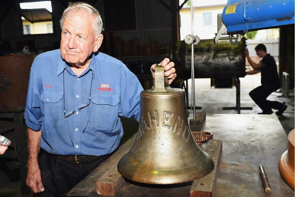 Peter Olds from Olds Engineering with the Maheno bell which the company will replicate twice - once for Fraser Island and again for the Queensland Maritime Museum.