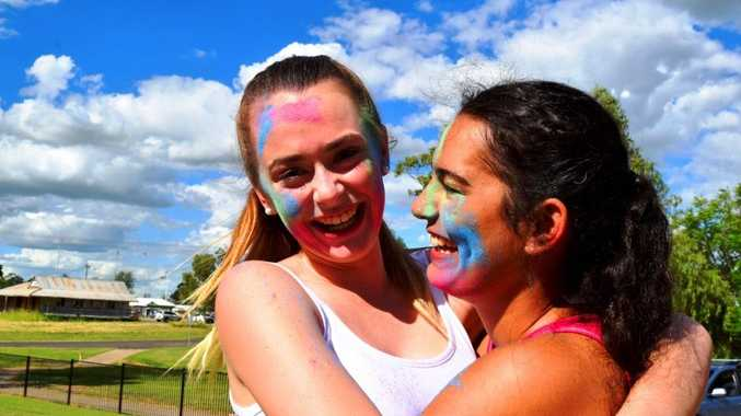 RUN OF COLOUR: Best friends Ashlea Cooke and Ruth Morris can't wait to be part of the Roma ColourXplosion at Easter in the Country.