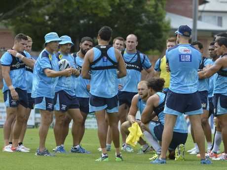 TRAIN TIME: The Titans squad trains at Clive Berghofer Stadium ahead of Saturday's NRL trial against the Warriors.