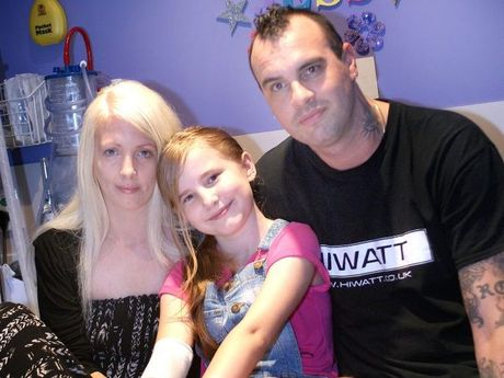 Jessica Irving with her parents Mathew Irving and Trina Noonan at Hervey Bay Hospital.