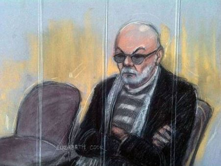 Court artist sketch by Elizabeth Cook of Gary Glitter appearing at Southwark Crown Court in London