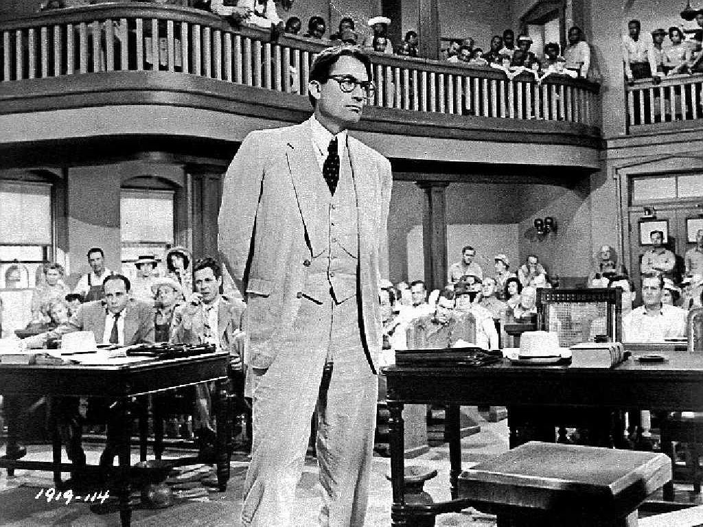 A 1962 press photo of actor Gregory Peck playing attorney Atticus Finch.