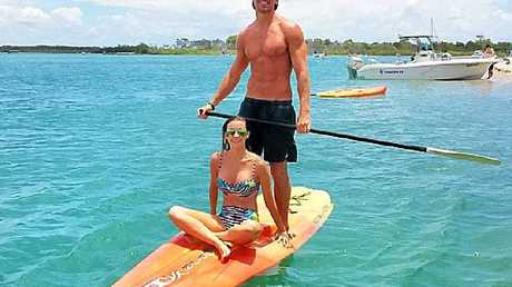 Lisa Hyde and Tyson Mayr enjoy some time together on the Noosa River.