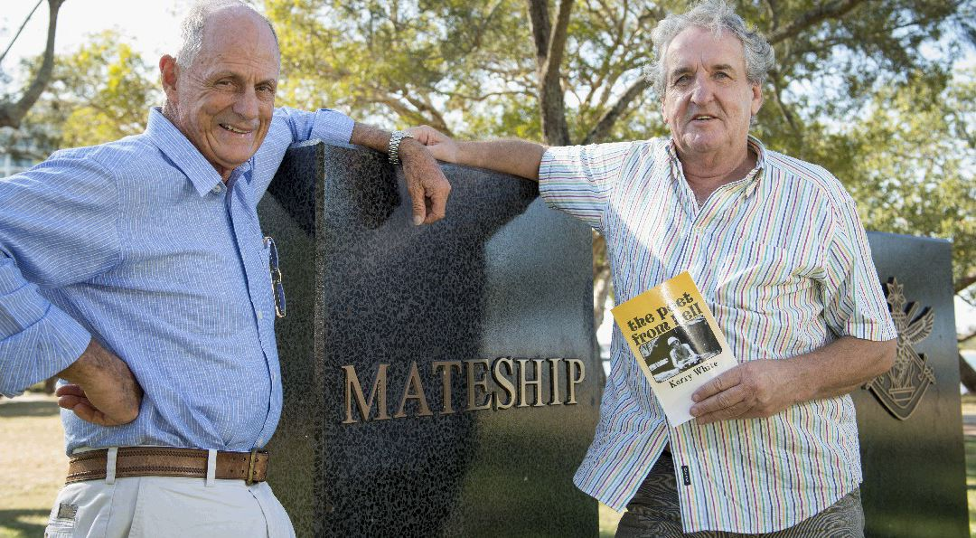 MANY MEMORIES: War veterans Jim Campbell and Kerry White meet up almost 38 years after a bloody war incident in Vietnam