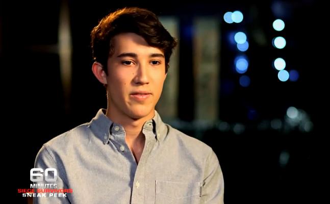 Sydney Siege survivor Jarrod Hoffman pictured during his interview with 60 Minutes.