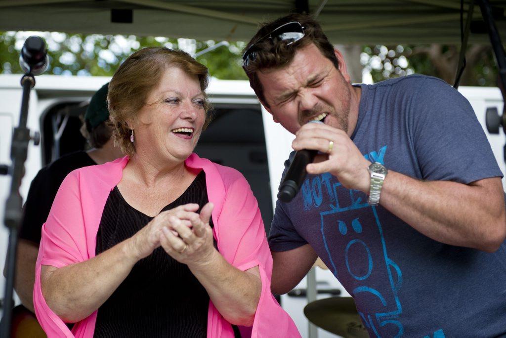 Liz Cunningham and Brent Lanzon at Liz's farewell event at Tannum Sands.