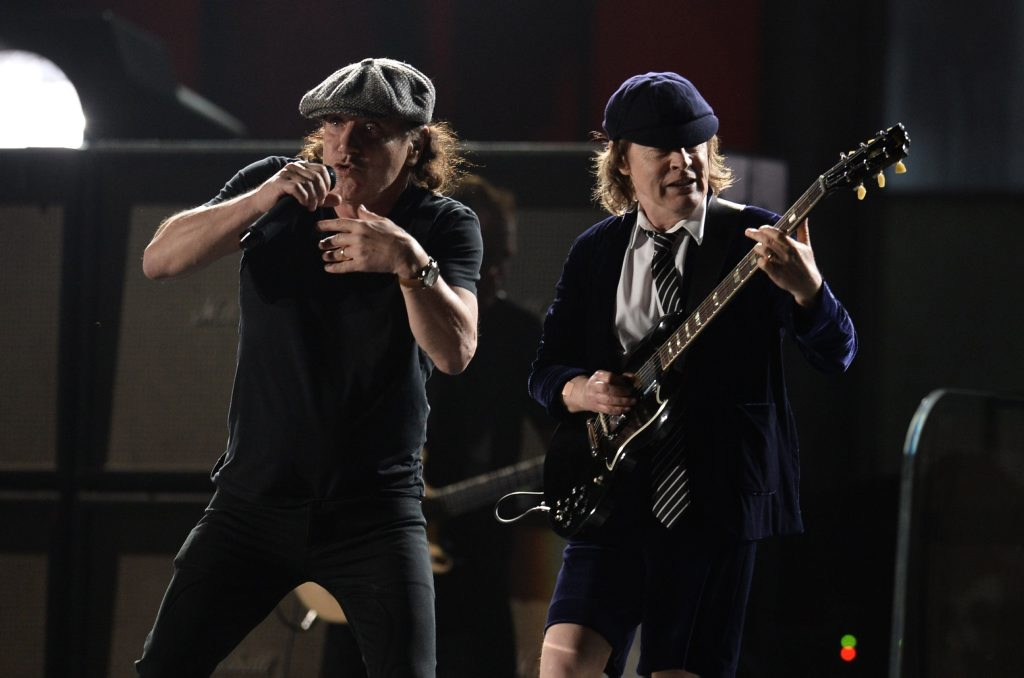 AC/DC perform on stage at the 57th Annual Grammy Awards in Los Angeles.