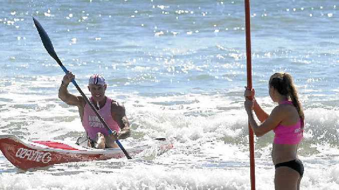 PADDLE POWER: Woolgoolga's Scott Thompson competes in the ski event at the North Coast Branch Surf Life Saving Championships hosted by Minnie Water-Wooli Surf Life Saving Club on Sunday. PHOTOS: DEBRAH NOVAK