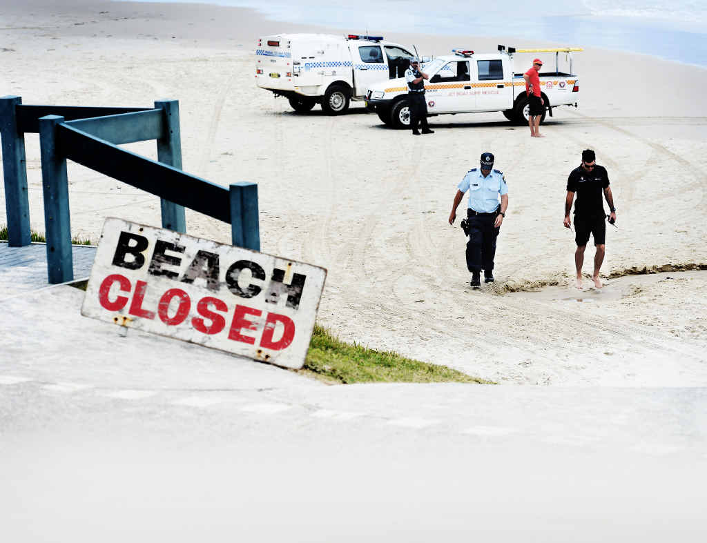 SCENE OF TRAGEDY: Shelly Beach, Ballina, was closed after local Tadashi Nakahara died in a shark attack yesterday.