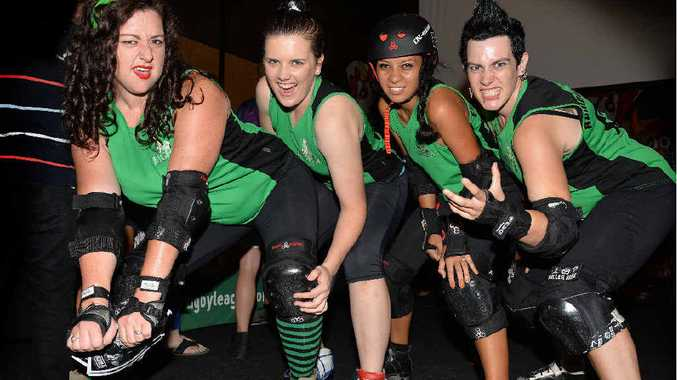 Annalise Mawer, Krysten Pullen, Ebony Newton-Bayato and Corinda Robertson from the Mackay City Roller Maidens want you.