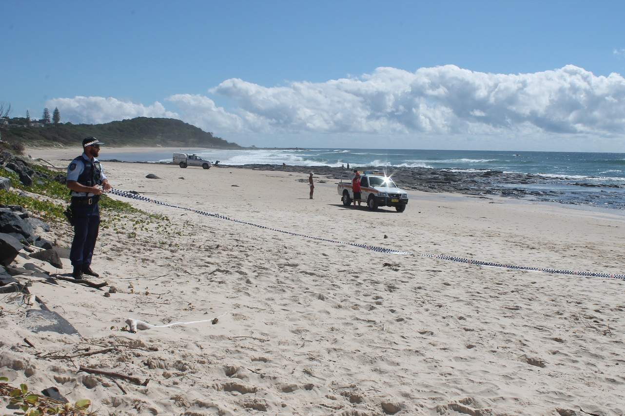 The scene at Shelly Beach after a fatal shark attack this morning.