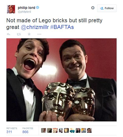 The Lego Movie director Phil Lord celebrates his BAFTA win.