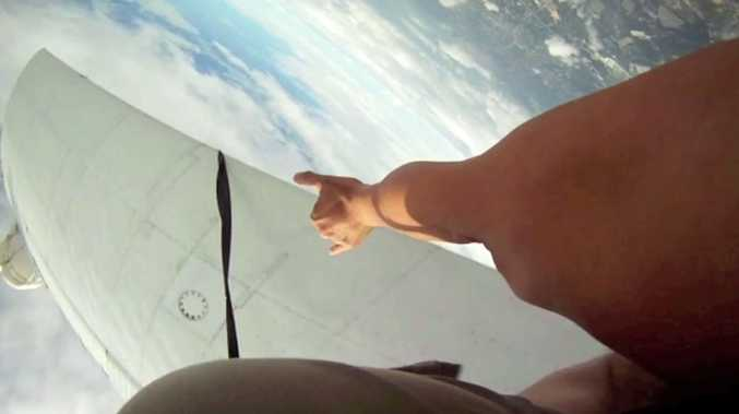 A still from the skydiver's footage showing their terrifying near-miss