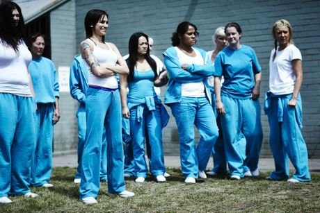 Nicole da Silva, second from left, in a scene from the TV series Wentworth.