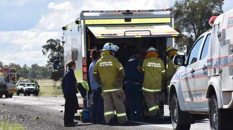 A truck and utility have crashed on the Warrego Hwy this afternoon. Photo Hayden Smith / Chinchilla News