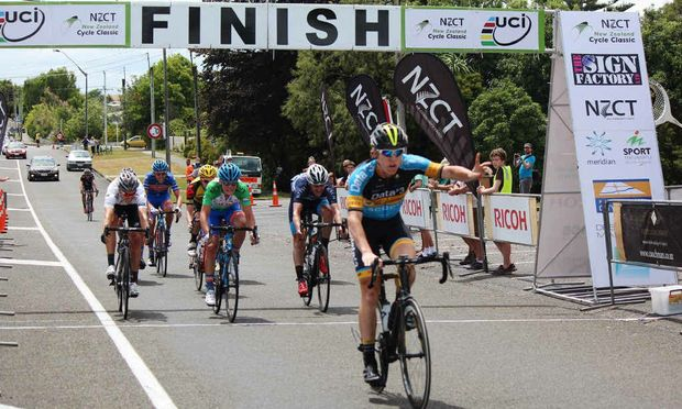 FIRST OF MANY: Grafton cyclist Craig Evers wins stage two of the New Zealand Cycle Classic on January 30 – his first race win since he started racing for UCI team Data#3 at the start of 2015. PHOTO: CONTRIBUTED