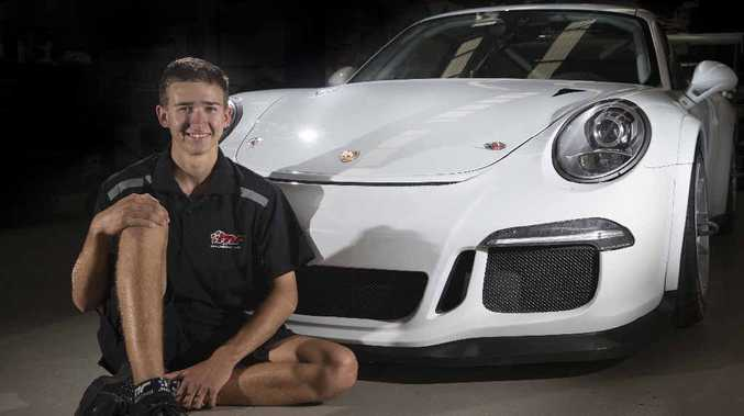 GREAT OPPORTUNITY: Matt Campbell with the car he will drive in the Porsche Carrera Cup Australia championship.
