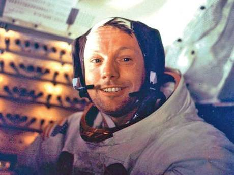 Neil Armstrong smiles into the camera after spending more than 2 hours on the lunar surface on 21 July, 1969