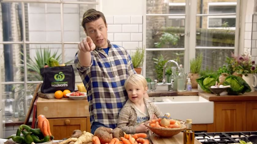 Jamie Oliver and his son Buddy in the new online commercial for the Odd Bunch.